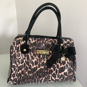 BETSEY JOHNSON sequin cheetah small duffle